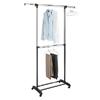 Adjustable 2-Rod Garment Rack, Chrome/Black 007424437(WFS30)