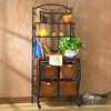 Iron and Wicker Bakers Rack 1154714(OFS163)