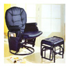 Black Recliner Glider and Ottoman 2429 (PJ)