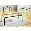 3-Pc Satin Black Coffee Table Set 2580 (CO)