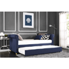 Sophia Navy Linen Upholstered Daybed and Trundle
