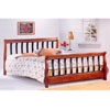 Dark Oak Finish Queen Bed With Black Metal Bars 4679 (CO)