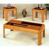 3-Pc Oak Veneer Parquet Coffee And End Table Set 5171 (CO)
