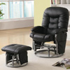 Deluxe Swivel Glider and Ottoman in Black Leatherette 600227