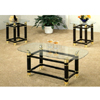 3-Pc Brass & Glossy Black/ White Coffee Table Set 28271 (WD)