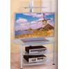 Chrome Finish T.V. Stand With Frosted Glass Shelves 7586 (CO