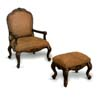 Dark Oak Finish Chair and Ottoman 900041 (CO)