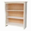 Solid Wood Shaker Unfinished Open Bookcase