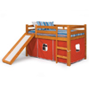 Solid Wood Tent Loft Bed with Slide and Play Tent ST-4500(WC