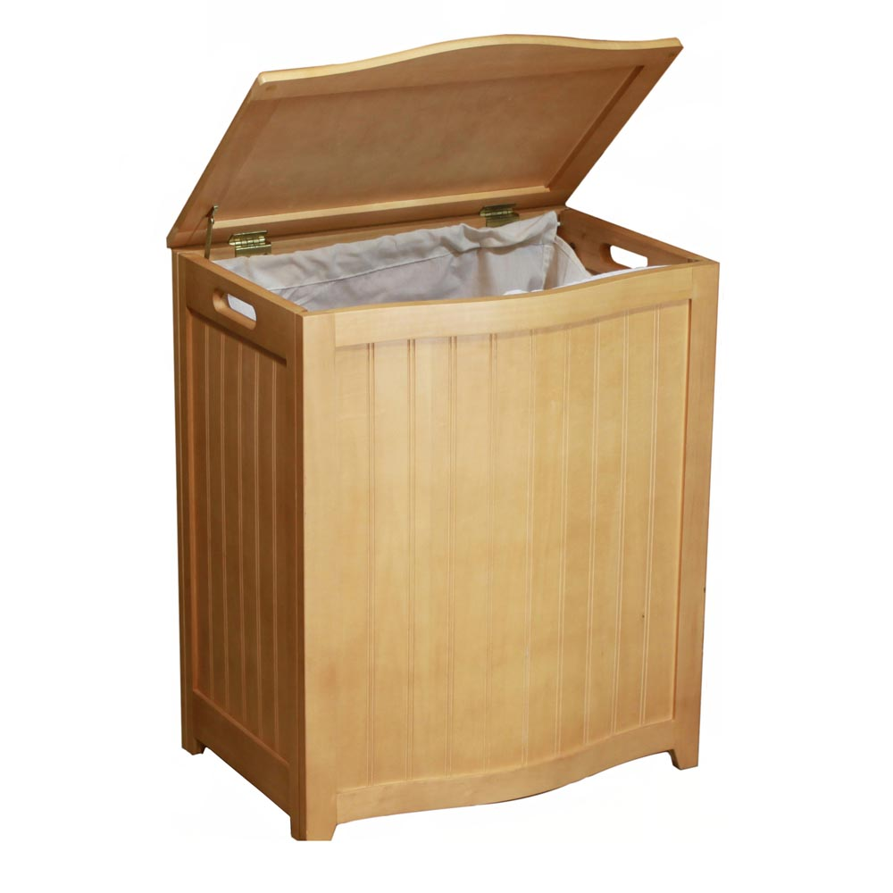 Natural Finished Bowed Front Veneer Laundry Wood Hamper