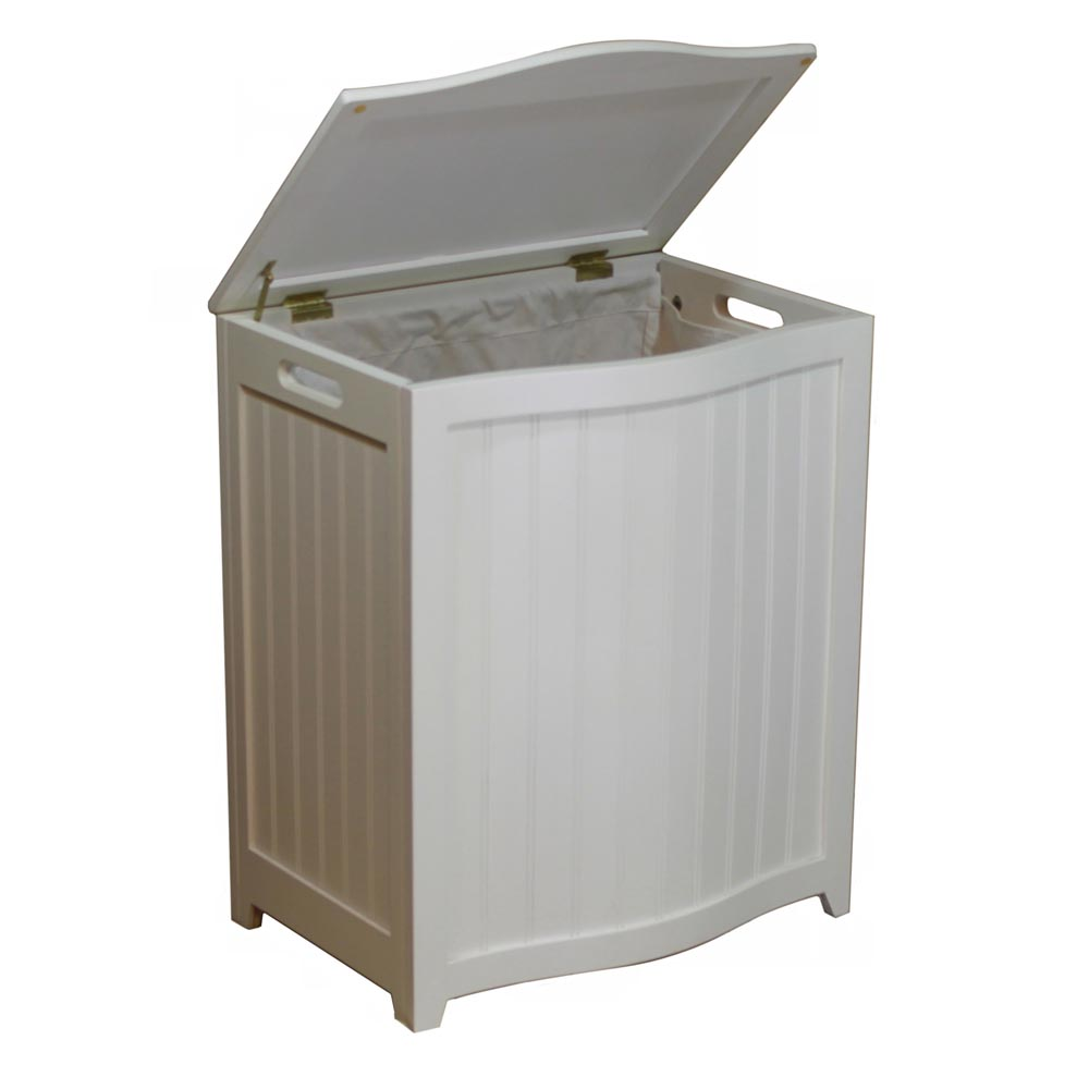 White Bowed Front  Hamper BHP0106W (OD)