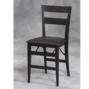 Wenge Firenze Folding Chair with Vinyl Seat - Set of 2-LHD-0