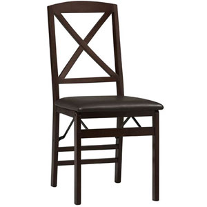 Triena X Back Folding Chair in Espresso Set of 2 01826ESP-02