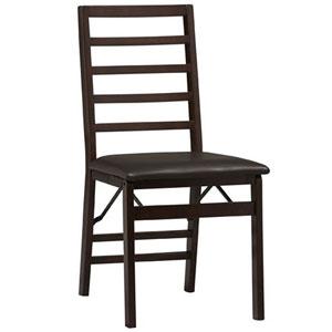 Triena Ladder Back Folding Chair in Espresso Set of 2 01827E