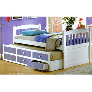 Lowell Sky Blue And White Youth Bed 1499_ (A)