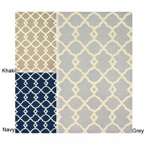 Handmade Moroccan Trellis Wool Rug 15030362(O)