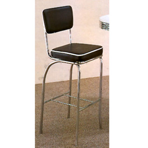 Chrome Plated Bar Chair With Black Cushion 2045 (CO)