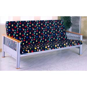 Silver Finish Futon Frame With Natural Finish Arms 2068 (CO)