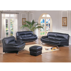 Black Leather Living Room Set 2087 (WD)