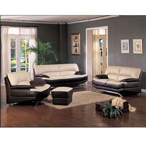 Two-Toned Leather Living Room Set 2088 (WD)