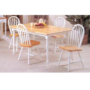 Solid Wood 5-Piece Natural/White Dinette Set 2247/2482 (Au)