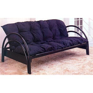 Satin Black Double Arch Futon Frame 2348 (CO)