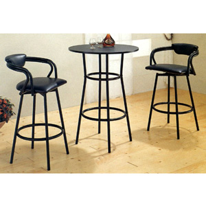 3-PC Black Bar Set With  R Shape Stools 2383-87 (CO)