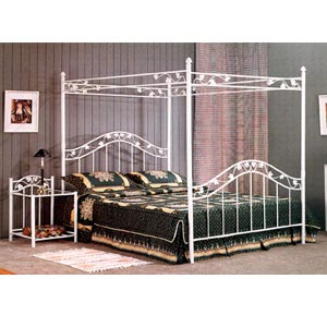 White Floral Head/Footboard With Canopy 2851_ (CO)