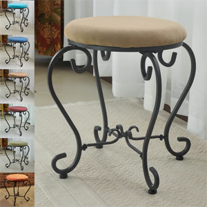 Small Iron Stool with Microsuede Cushion 3438(OFS)