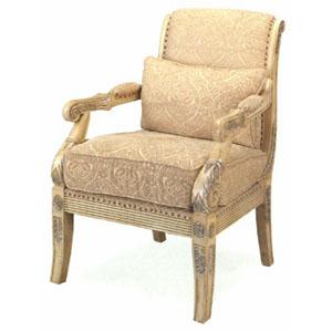 Antique Crackle Finish Arm Chair W/Pillow 3509 (CO)