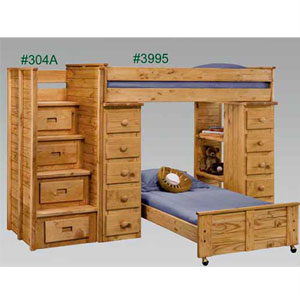 Twin Twin Loft Bed With Stairs And Drawers 3995 304a Pc