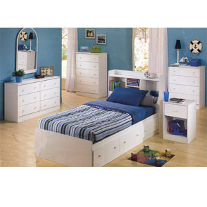 White Twin Bed with Bookcase Headboard 400090/91 (CO)