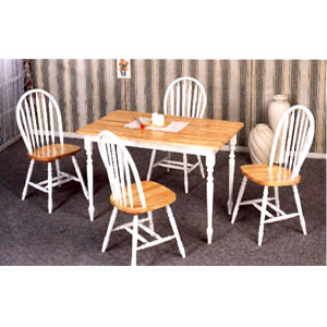 5 Pc Natural/White Solid Wood Dinette Set 4147/4133 (CO)