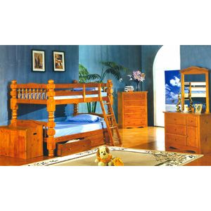Twin/Twin Jumbo Spindle Bunk Bed  4530_ (ML)