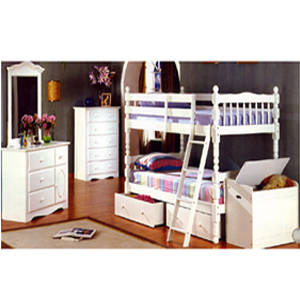 Twin/Twin Spindle Bunk Bed Set 4520WHT (ML)