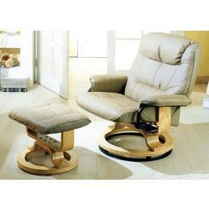 Top Grain Leather Match Swivel Recliner W/ Ottoman 4567 (CO)