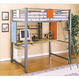 Teen Trends Boys Full Loft Study Bunk Bed 517-117(PW)
