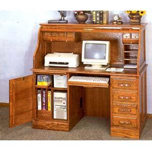 Deluxe Oak Roll Top Computer Desk 5307 Co Idollarstore Com