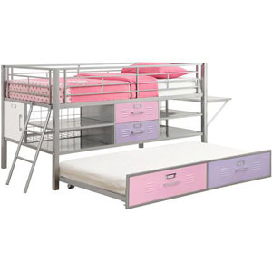 Junior Twin Locker Loft Bed with Shelves 5564096(WFS)