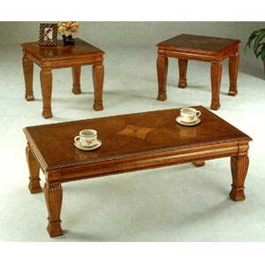 3-Pc Oak Finish Coffee And End Table Set 5736 (CO)