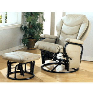 Bone Leatherette Cushion Glider Rocker & Ottoman 7040 (CO)