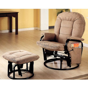Taupe Velvet Swivel Glider Recliner With Ottoman 7130 (CO)
