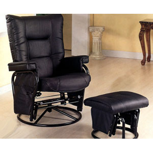 Leatherette Swivel Glider Recliner With Ottoman 7385 (CO)