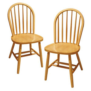 Solid Wood Windsor Chair, Natural Set of 2 89999(WWFS)