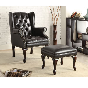 Dark Brown Wing Chair and Ottoman 900262(COFS)