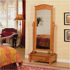Oak Cheval Mirror with Drawer 900508(CO)
