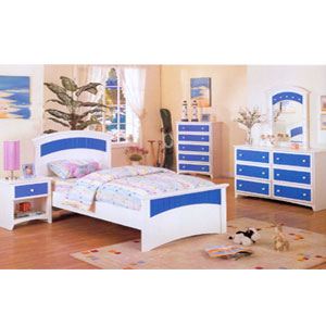 White And Blue Twin Bed F9054 (PX)