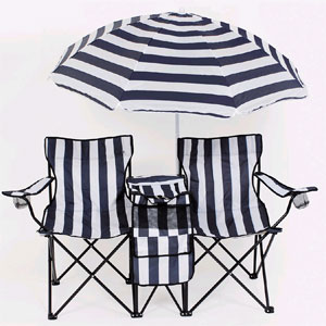 Twin Camping Chair With Cooler And Umbrella 91075 (LB)