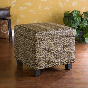 Leopard Faux Leather Storage Ottoman BC5955R (SEIFS)