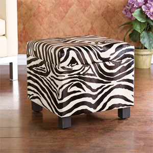 Zebra Faux Leather Storage Ottoman BC5957R (SEIFS)